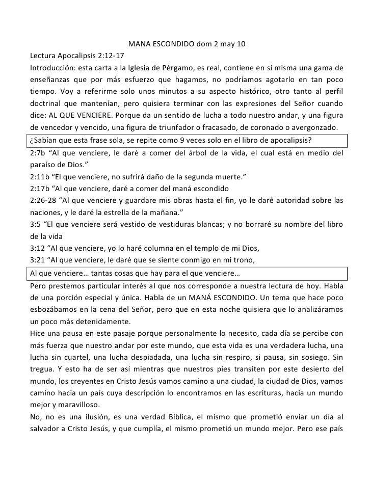 MANA ESCONDIDO dom 2 may 10 Lectura Apocalipsis 2:12-17 Introducción: esta carta a la Iglesia de Pérgamo, es real, contien...