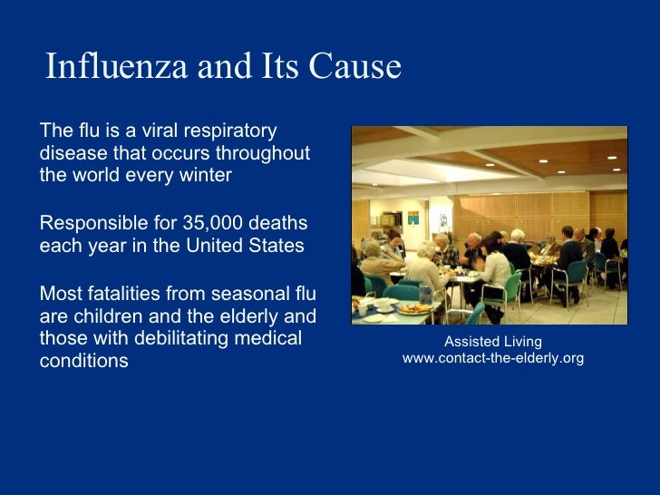 Influenza and Its Cause <ul><li>The flu is a viral respiratory disease that occurs throughout the world every winter </li>...