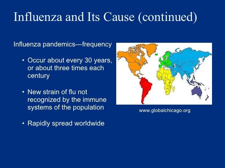 Influenza and Its Cause (continued) <ul><li>Influenza pandemics — frequency  </li></ul><ul><ul><li>Occur about every 30 ye...