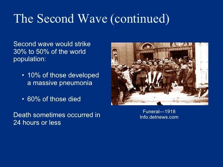 The Second Wave (continued) <ul><li>Second wave would strike 30% to 50% of the world population: </li></ul><ul><ul><li>10%...