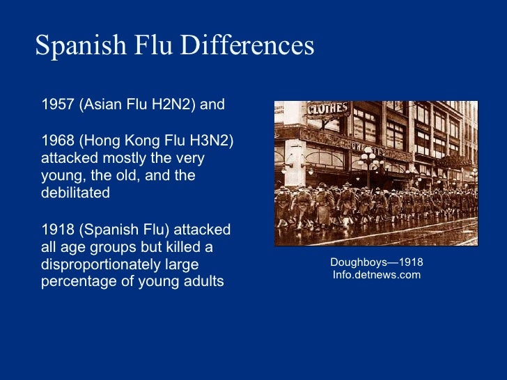 Spanish Flu Differences <ul><li>1957 (Asian Flu H2N2) and  </li></ul><ul><li>1968 (Hong Kong Flu H3N2) attacked mostly the...