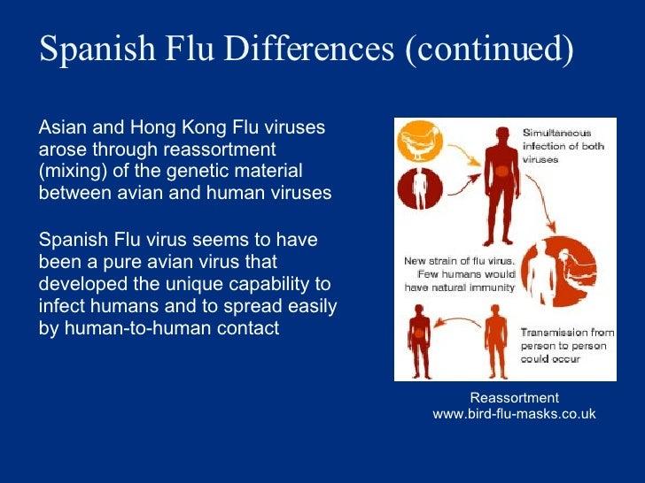 Spanish Flu Differences (continued) <ul><li>Asian and Hong Kong Flu viruses arose through reassortment (mixing) of the gen...