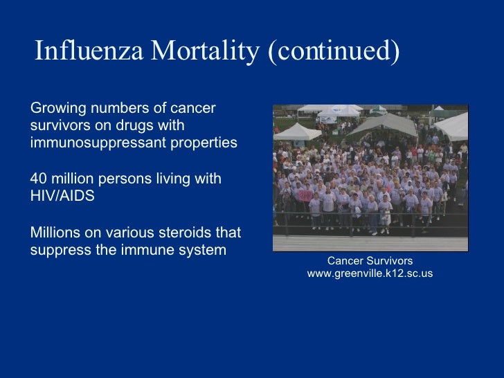 Influenza Mortality (continued) <ul><li>Growing numbers of cancer survivors on drugs with immunosuppressant properties </l...