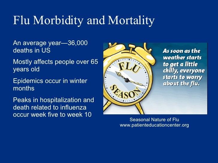 Flu Morbidity and Mortality   <ul><li>An average year — 36,000 deaths in US </li></ul><ul><li>Mostly affects people over 6...