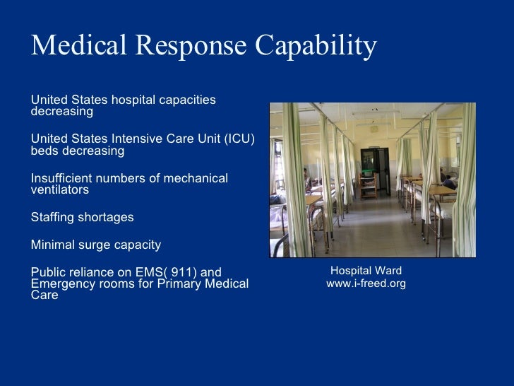 Medical Response Capability <ul><li>United States hospital capacities decreasing </li></ul><ul><li>United States Intensive...