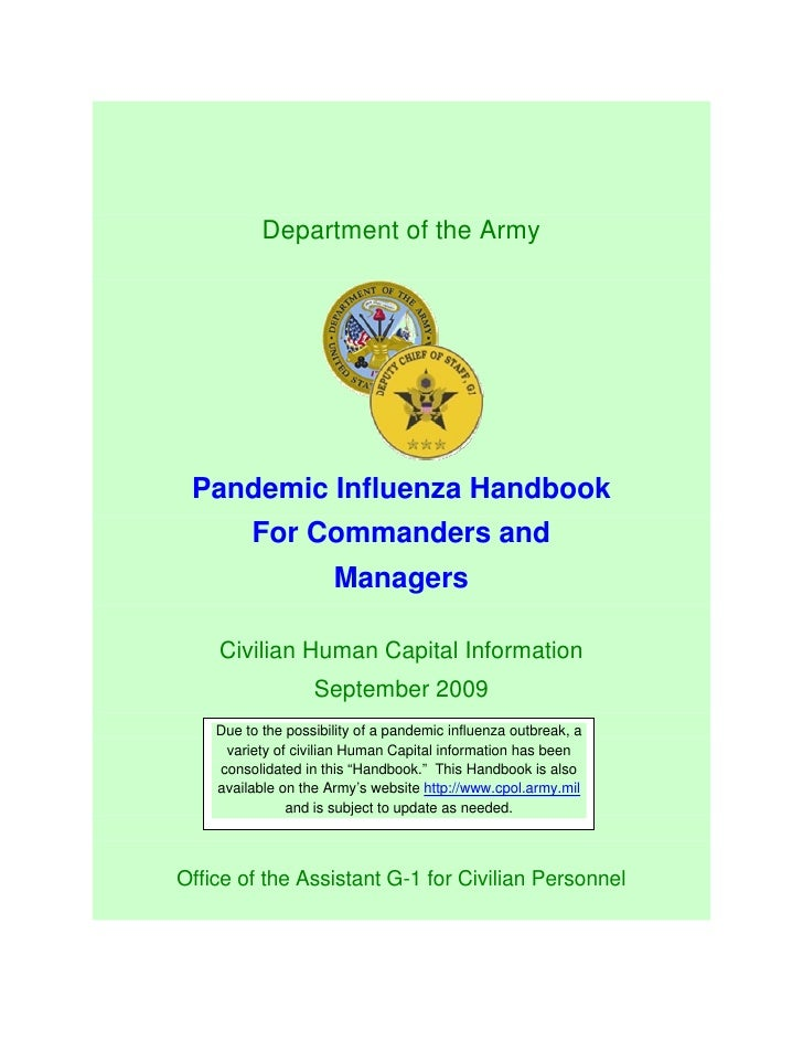 Department of the Army      Pandemic Influenza Handbook          For Commanders and                       Managers      Ci...