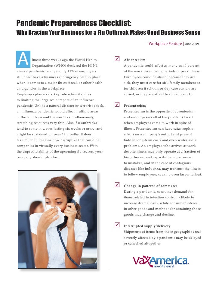 Pandemic Preparedness Checklist: Why Bracing Your Business for a Flu Outbreak Makes Good Business Sense                   ...