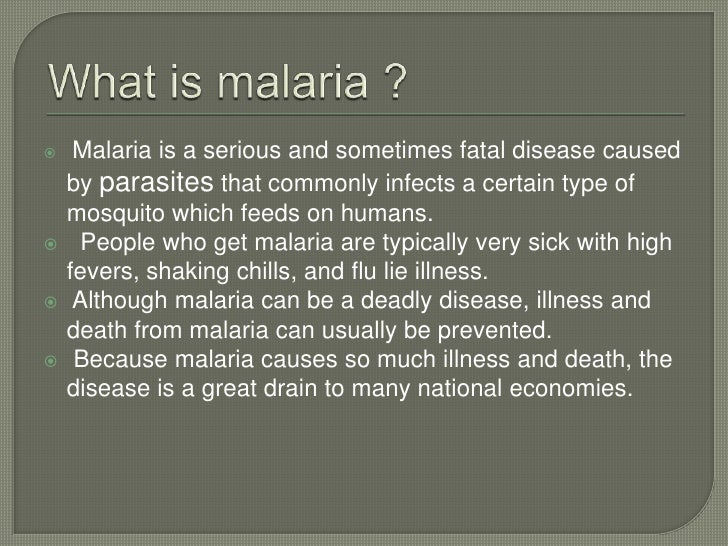 An overview of the characteristics and causes of malaria a deadly disease