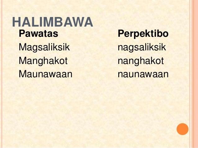 HALIMBAWA Pawatas Perpektibo Magsaliksik nagsaliksik Manghakot nanghakot Maunawaan naunawaan