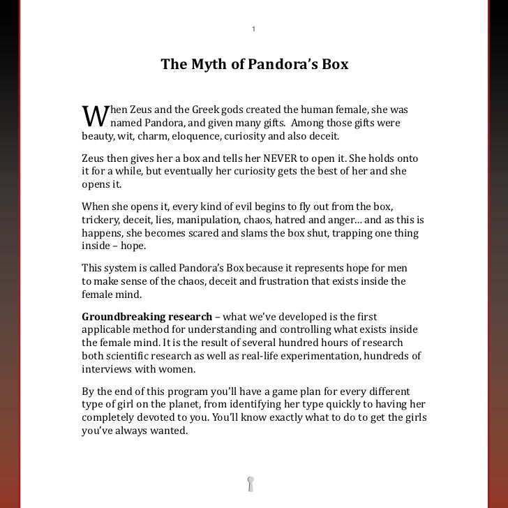pandora box  andintroduction 2 1w the myth of pandora s box