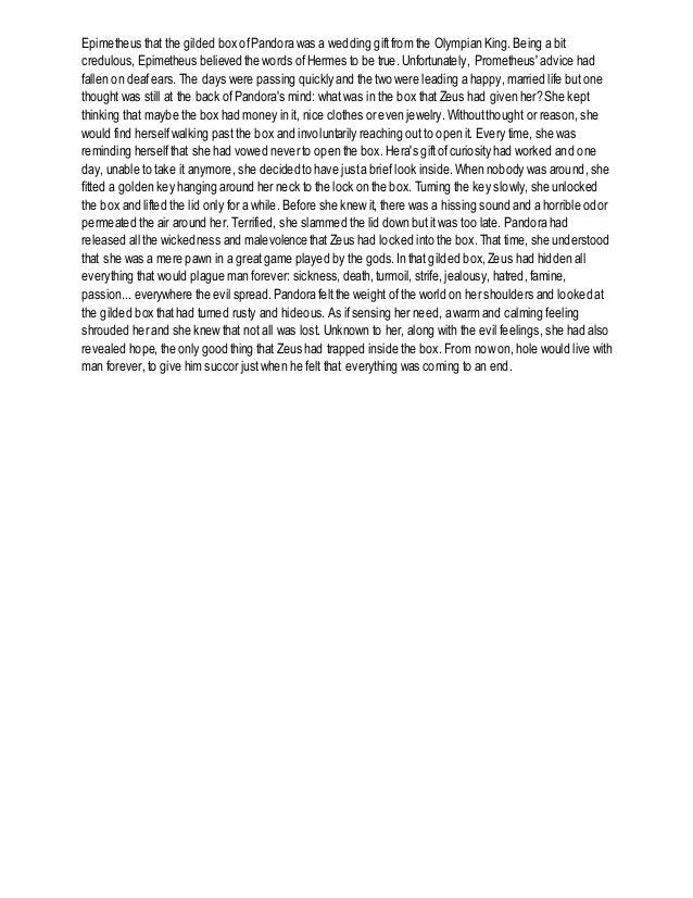 Pandora Greek Mythology Summary