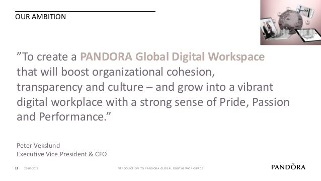 FAST TRACK DEVELOPMENT IN 13 MONTHS – FULLY ROLLED OUT AFTER 19 MONTHS! 20 INTRODUCTION TO PANDORA GLOBAL DIGITAL WORKSPAC...