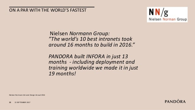22 SEPTEMBER 201723 AMONG THE BEST IN DENMARK AFTER YEAR ONE WITH INFORA