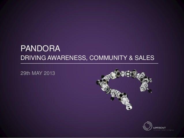 PANDORA DRIVING AWARENESS, COMMUNITY & SALES 29th MAY 2013