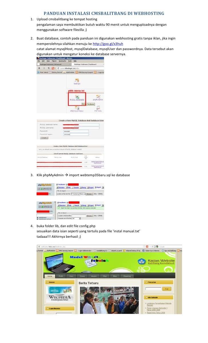 PANDUAN INSTALASI CMSBALITBANG DI WEBHOSTING1. Upload cmsbalitbang ke tempat hosting   pengalaman saya membuktikan butuh w...