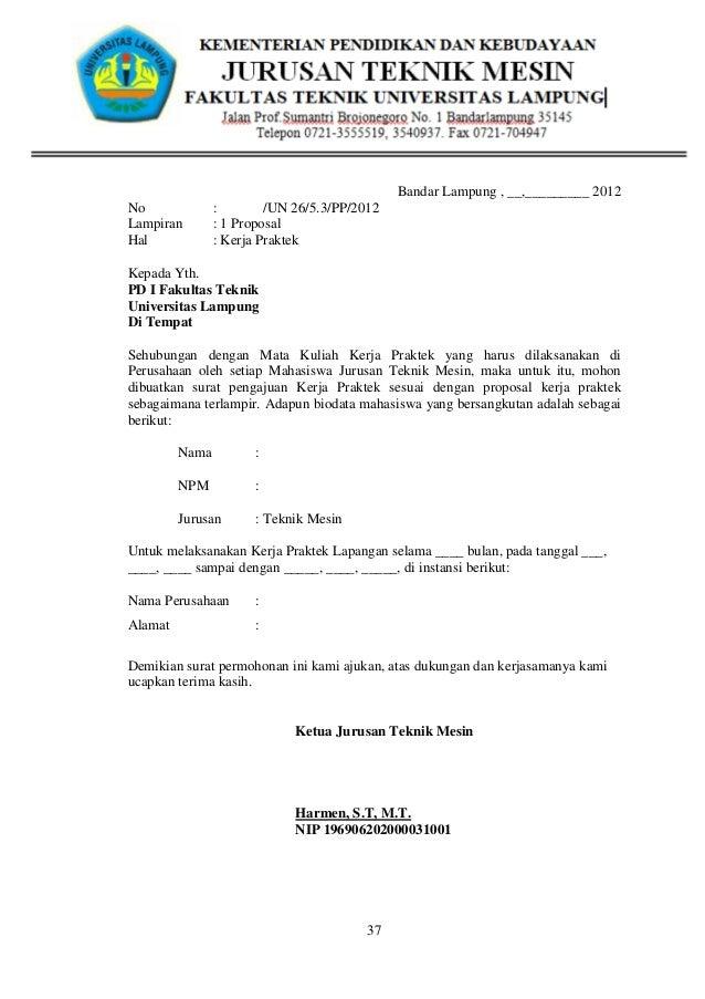 Contoh Surat Permohonan Kerja Praktek Kp