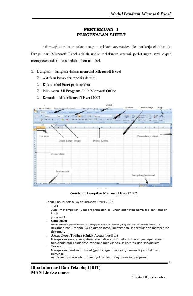 Modul Panduan Microsoft Excel                                PERTEMUAN I                              PENGENALAN SHEET    ...