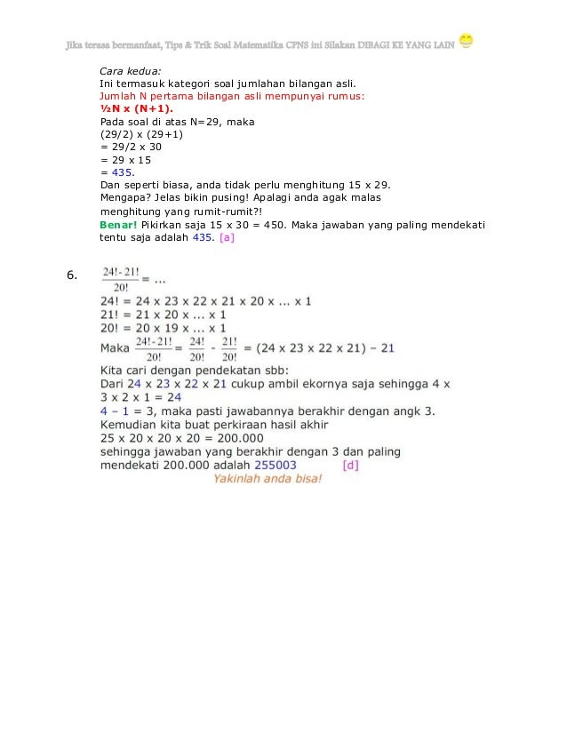 Panduan Jitu Mengerjakan Soal Matematika Cpns