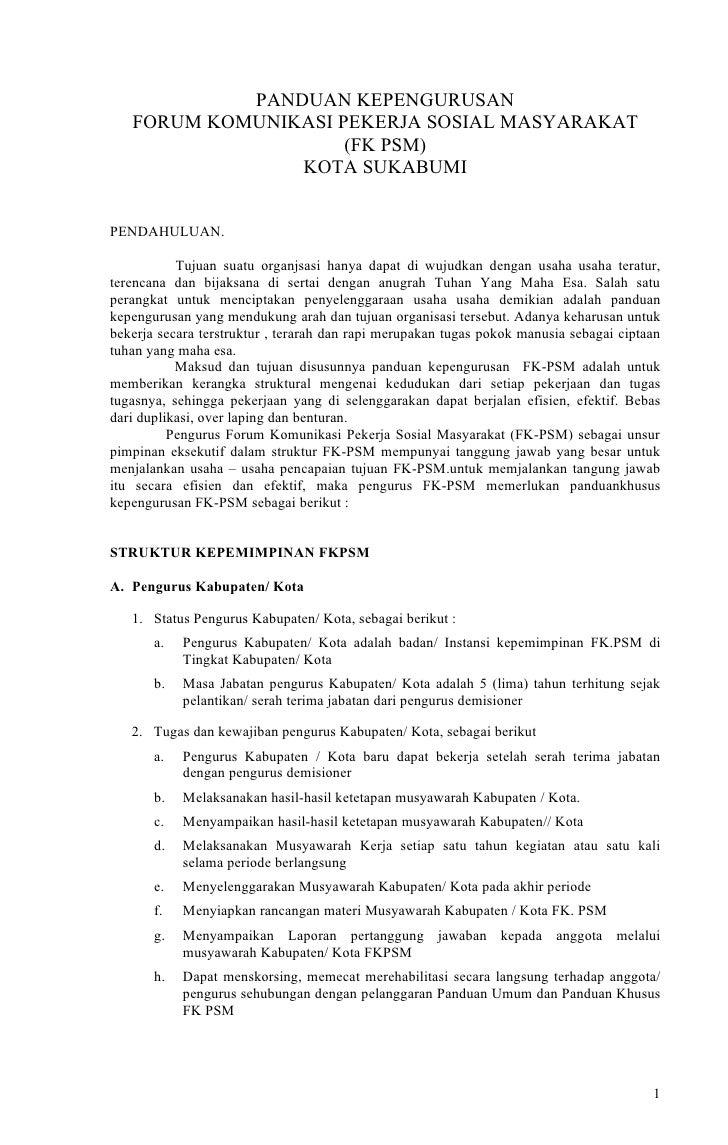 PANDUAN KEPENGURUSAN    FORUM KOMUNIKASI PEKERJA SOSIAL MASYARAKAT                      (FK PSM)                 KOTA SUKA...