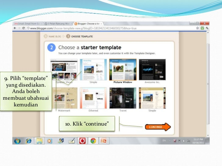 """14. Untuk melihathasil post anda, klik     """"view blog""""    12. Untuk membuat   post, masukkan tajuk         post anda    13..."""