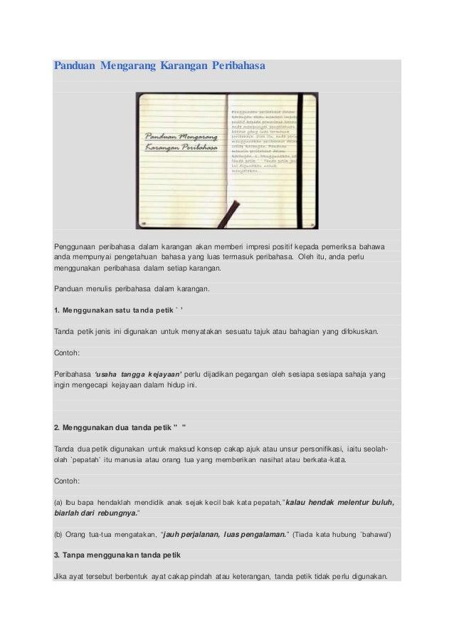 Panduan Mengarang Karangan Peribahasa