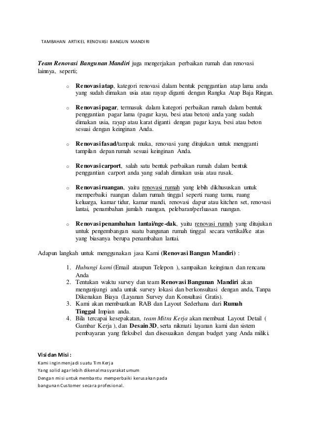TAMBAHAN ARTIKEL RENOVASI BANGUN MANDIRI Team Renovasi Bangunan Mandiri juga mengerjakan perbaikan rumah dan renovasi lain...
