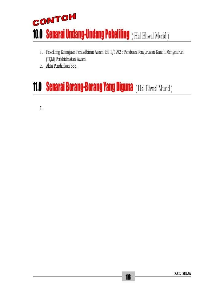 10.0 Senarai Undang-Undang Pekeliling ( Hal Ehwal Murid )  1.   Pekeliling Kemajuan Pentadbiran Awam Bil 1/1992 : Panduan ...