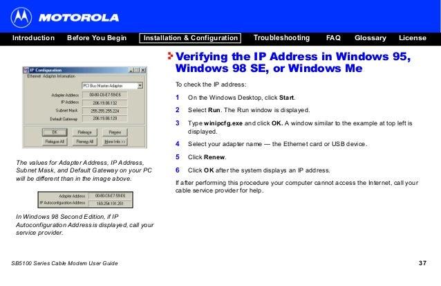 Motorola cable modem sb5101 user guide | microsoft windows.