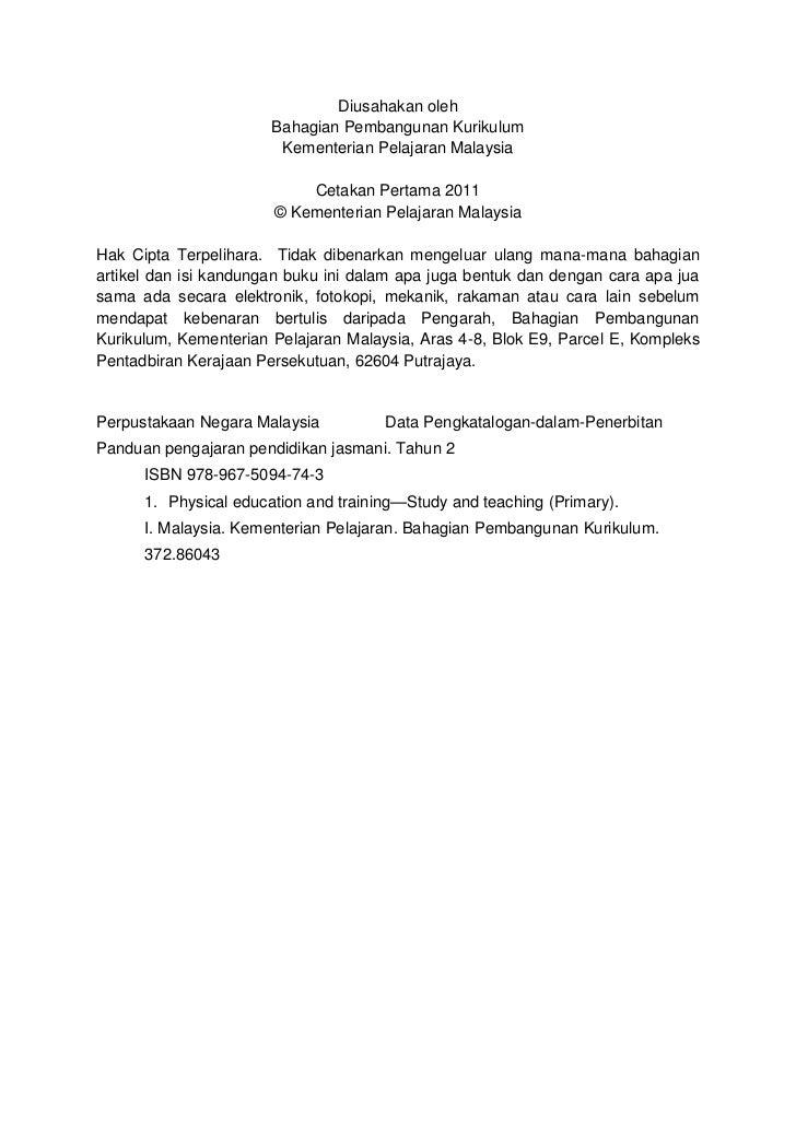 Panduan Pengajaran Pendidikan Jasmani   Tahun 2                                                                        Muk...