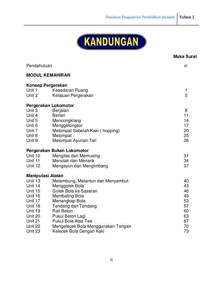 Tahun 2   Panduan Pengajaran Pendidikan Jasmani                                                  Muka SuratPergerakan Beri...