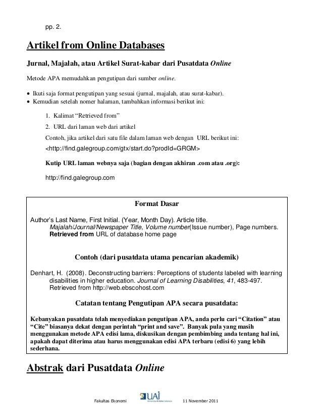 Panduan Pengutipan Metode Apa 2011