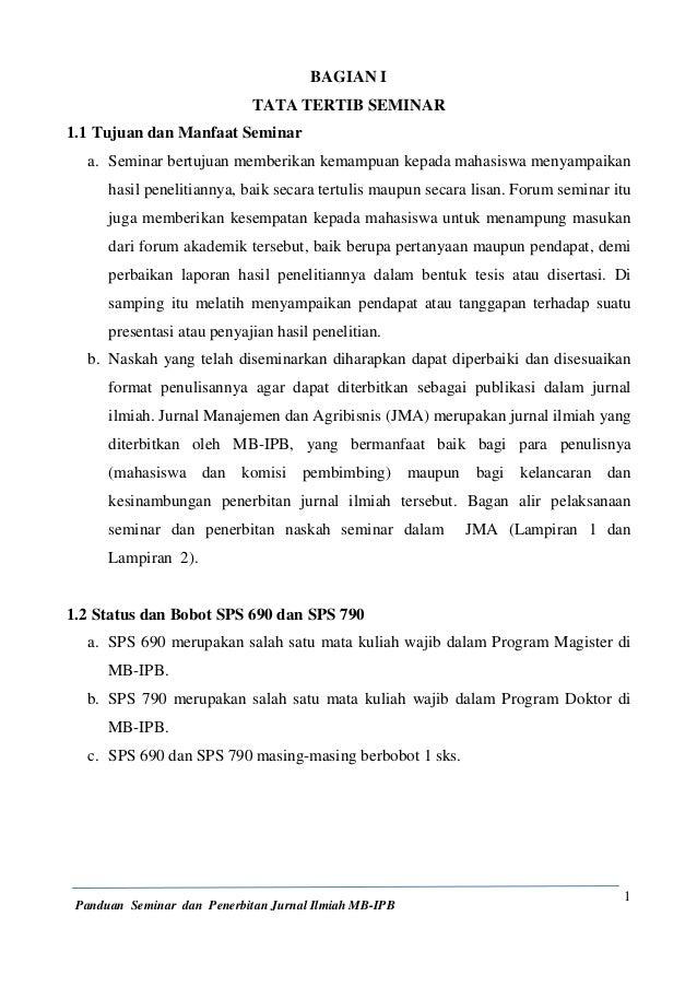 PANDUAN SEMINAR DAN PENERBITAN JURNAL ILMIAH MB-IPB