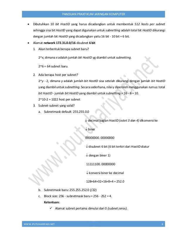 WWW.IPUTUHARIYADI.NET 7 PANDUAN PRAKTIKUM JARINGAN KOMPUTER  Alamat subnet kedua diperoleh dengan cara: alamat subnet per...