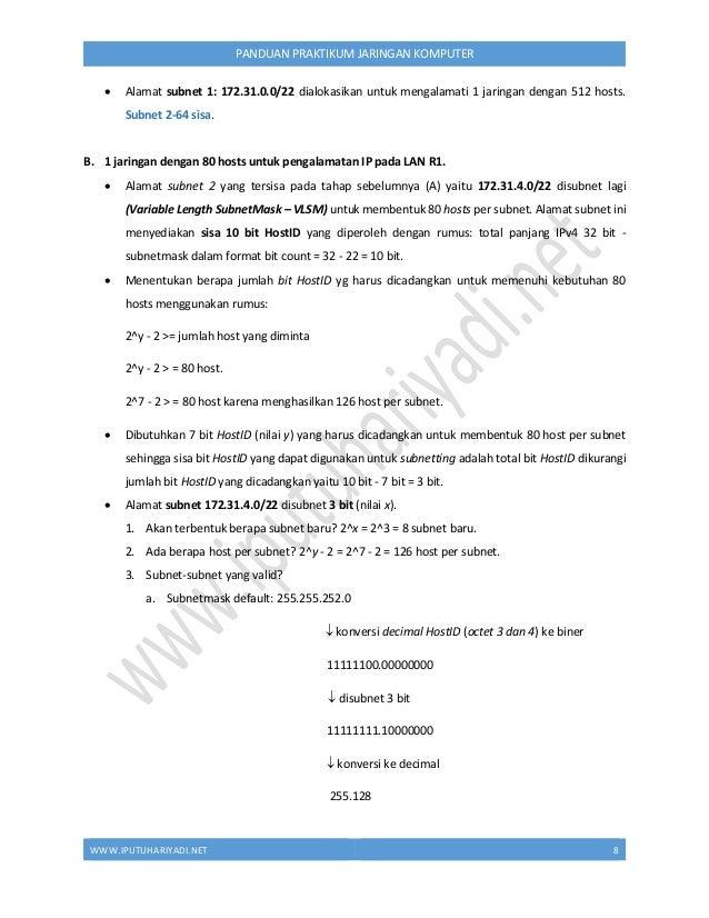 WWW.IPUTUHARIYADI.NET 9 PANDUAN PRAKTIKUM JARINGAN KOMPUTER b. Subnetmask baru: 255.255.255.128 (/25) c. Block size: 256 -...