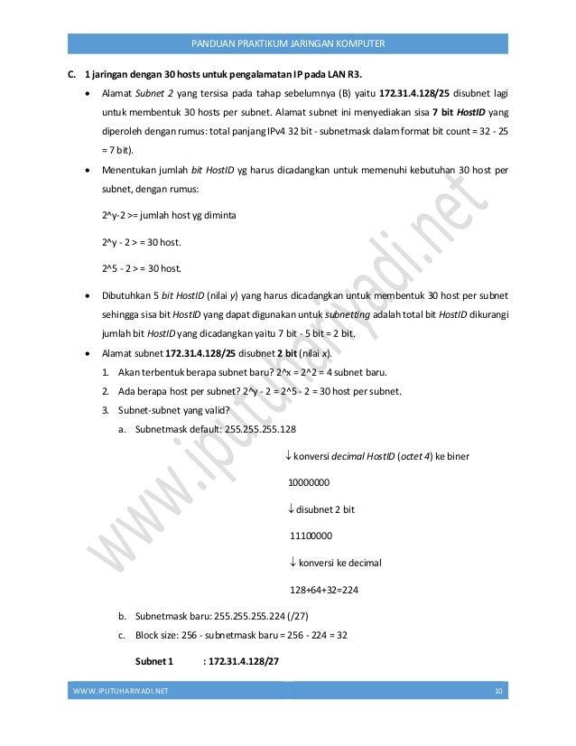WWW.IPUTUHARIYADI.NET 11 PANDUAN PRAKTIKUM JARINGAN KOMPUTER IP Pertama : 172.31.4.129 (STEP 1: +1) IP Terakhir : 172.31.4...