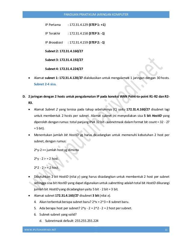 WWW.IPUTUHARIYADI.NET 12 PANDUAN PRAKTIKUM JARINGAN KOMPUTER  konversi decimal HostID (octet 4) ke biner 11100000  disub...