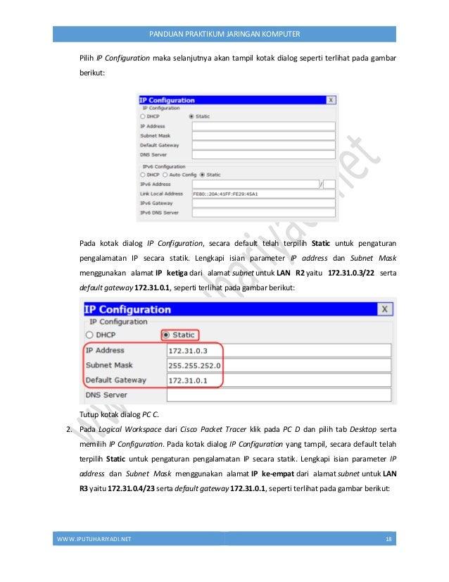 WWW.IPUTUHARIYADI.NET 19 PANDUAN PRAKTIKUM JARINGAN KOMPUTER Tutup kotak dialog PC D. C. Konfigurasi Pengalamatan IP pada ...