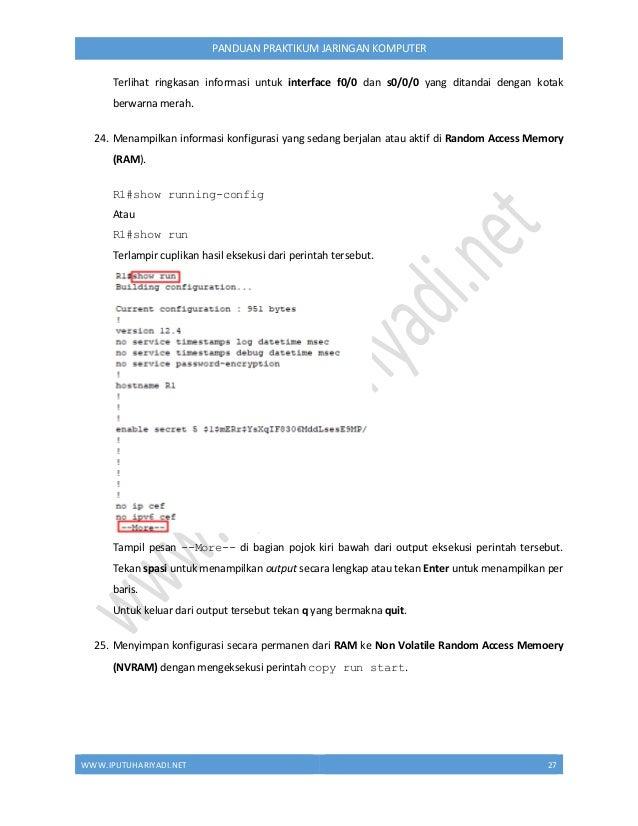 """WWW.IPUTUHARIYADI.NET 28 PANDUAN PRAKTIKUM JARINGAN KOMPUTER Tekan Enter pada pesan konfirmasi """"Destination filename [star..."""