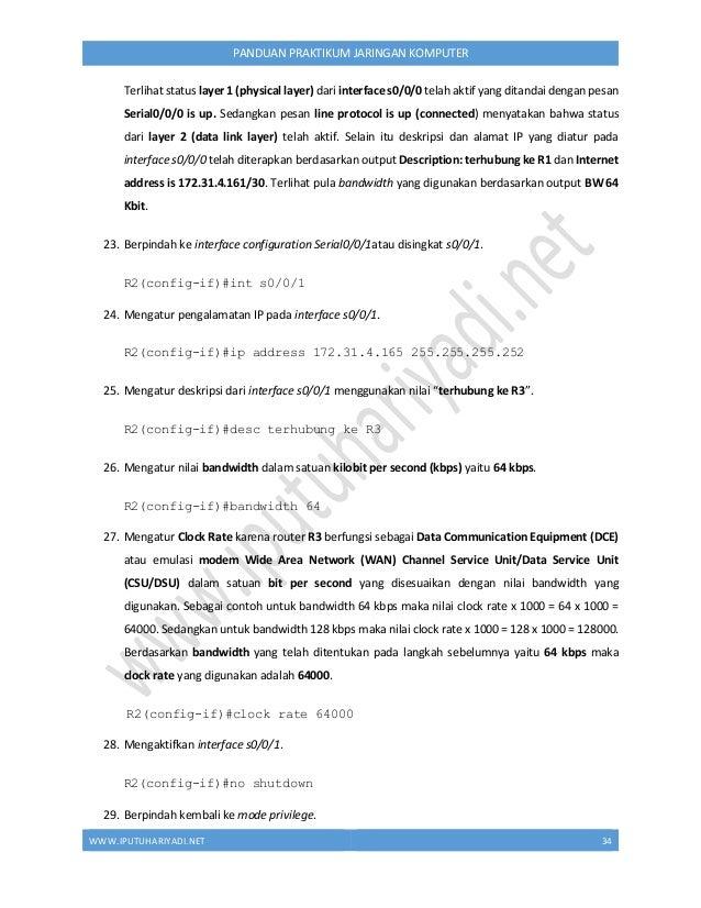 WWW.IPUTUHARIYADI.NET 35 PANDUAN PRAKTIKUM JARINGAN KOMPUTER R1(config-if)#end 30. Memverifikasi pengaturan pengalamatan I...