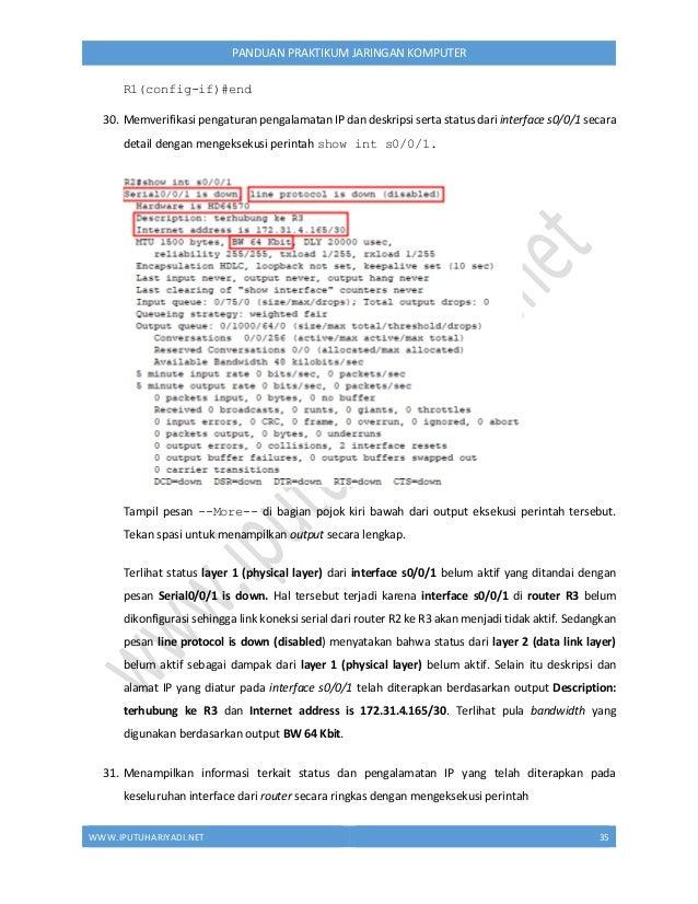 WWW.IPUTUHARIYADI.NET 36 PANDUAN PRAKTIKUM JARINGAN KOMPUTER R2# show ip interface brief Atau disingkat menggunakan perint...