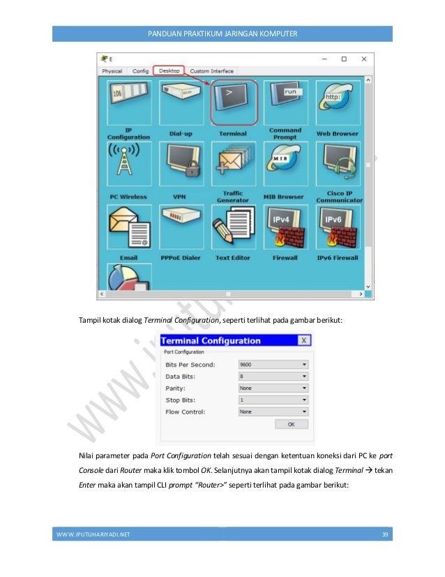 WWW.IPUTUHARIYADI.NET 40 PANDUAN PRAKTIKUM JARINGAN KOMPUTER 2. Berpindah dari mode user ke mode privilege Router>enable 3...
