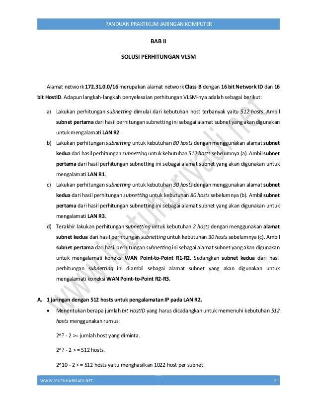 WWW.IPUTUHARIYADI.NET 6 PANDUAN PRAKTIKUM JARINGAN KOMPUTER  Dibutuhkan 10 bit HostID yang harus dicadangkan untuk memben...