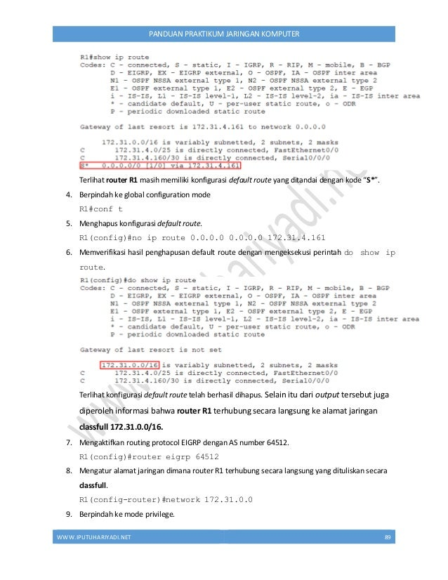 WWW.IPUTUHARIYADI.NET 90 PANDUAN PRAKTIKUM JARINGAN KOMPUTER R1(config-router)#end 10. Menampilkan informasi routing proto...