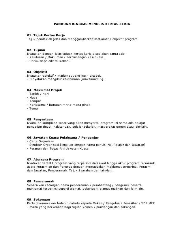 PANDUAN RINGKAS MENULIS KERTAS KERJA01. Tajuk Kertas KerjaTajuk hendaklah jelas dan menggambarkan matlamat / objektif prog...