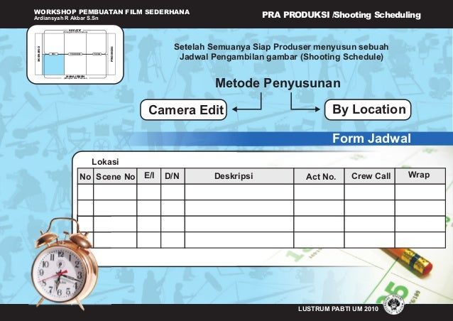WORKSHOP PEMBUATAN FILM SEDERHANA Ardiansyah R Akbar S.Sn (Ditangani oleh Sutradara) KREATIF MANAJEMEN (Ditangani oleh Pro...