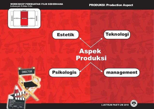 WORKSHOP PEMBUATAN FILM SEDERHANA Ardiansyah R Akbar S.Sn LUSTRUM PABTI UM 2010 PRODUKSI /Production Aspect (Ditangani ole...