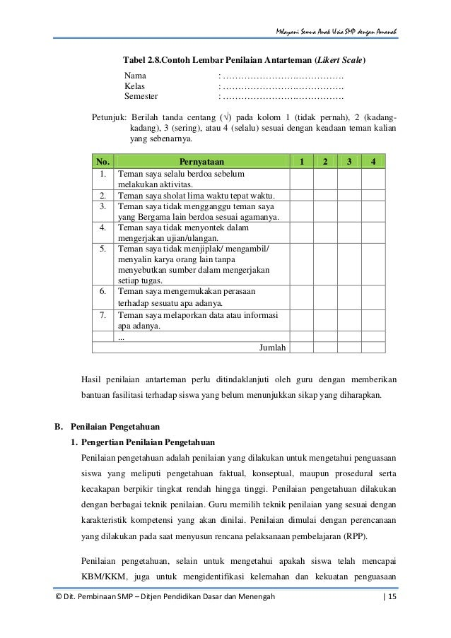 Panduan Penilaian Untuk Sekolah Menengah Pertama Smp Berdasarkan Pe