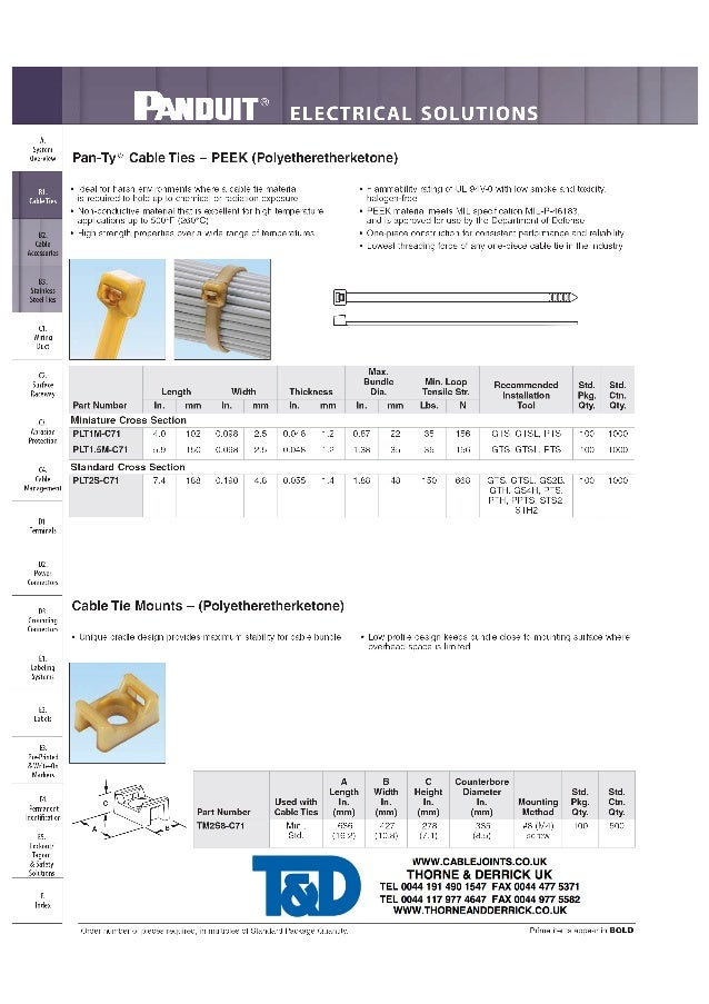 mDUIT® ELECTRICAL SOLUTIONS  overview Pan-Ty® Cable Ties — PEEK (Polyetheretherketone)     BL 0 Ideal for harsh environmen...