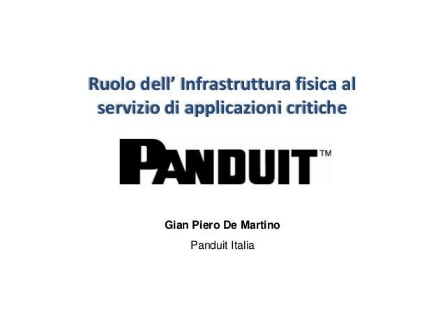 Ruolo dell' Infrastruttura fisica al servizio di applicazioni critiche          Gian Piero De Martino              Panduit...