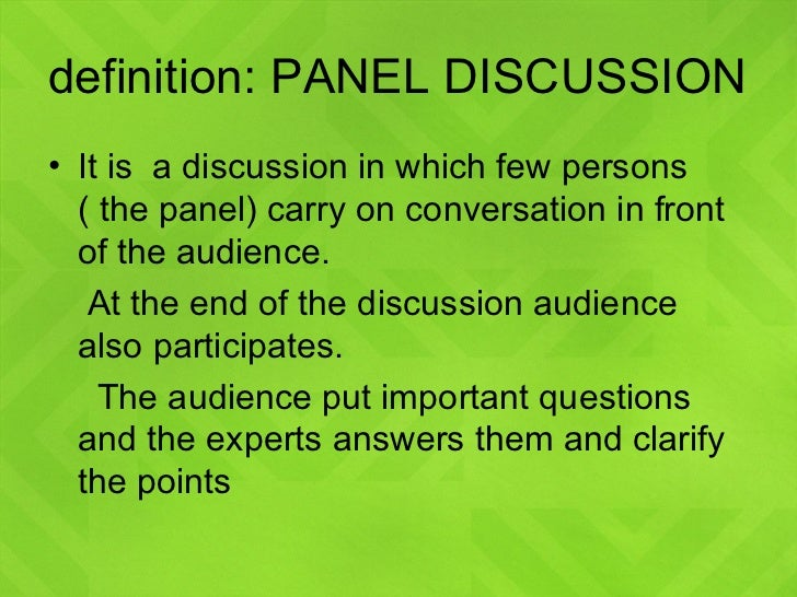 Writing a panel discussion presentation